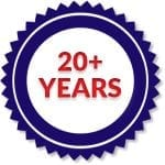 20 years of experience in home inspections badge
